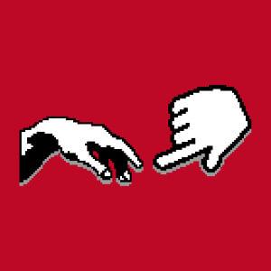 La création d'Adam revisitée en pixel art.