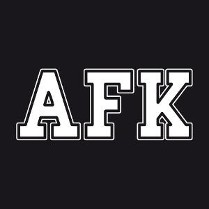 AFK, écrit en grosses lettres épaisses, un design gaming et geek.