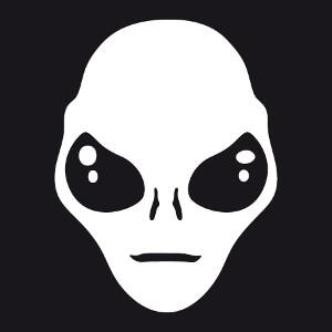 Illustration d'Alien à imprimer, dessin vectoriel spécial impression en blanc sur noir.