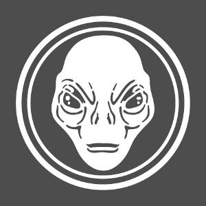 Alien, illustration avec visage d'extraterrestre inscrit au milieu d'un cercle.