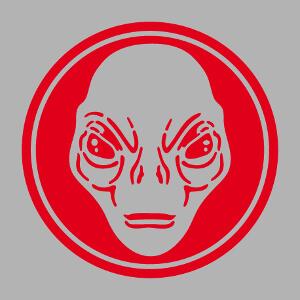 Tête d'alien découpée sur fond rond, design Geek et extraterrestre.