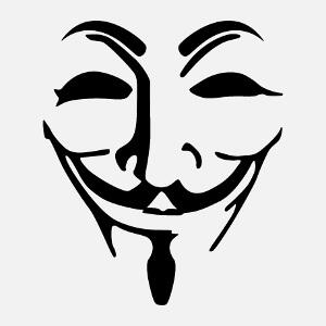 Masque Anonymous une couleur avec les traits du visage de Guy Fawkes.