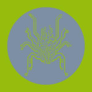 Araignée geek, circuit imprimé à huit pattes et corps massif. Design bionique découpé sur fond rond.