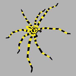 Personnalisez un t-shirt araignée avec ce motif vectoriel d'araignée à rayures.