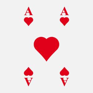Imprimer un t-shirt as de cœur avec ce design de carte de jeu.