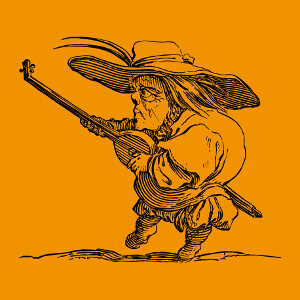 Gravure de musicien jouant du luth, dessiné de profil, adaptation d'une eau-forte de Callot.