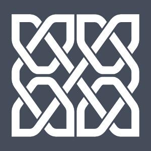 Design celtique de forme carrée composé de quatre portions symétriques formées d'une ligne continue qui se recoupe en croisillons.