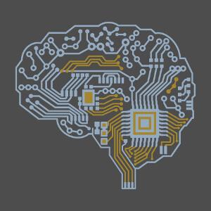 Design personnalisé circuit imprimé en forme de cerveau dessiné de profil. Créer un t-shirt geek et robot original.