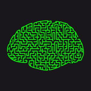 Cerveau labyrinthe, un design humour et casse-tête une couleur dessiné en lignes.