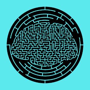 Circonvolutions formant un cerveau labyrinthique découpées sur un cercle, un motif humour et geek.