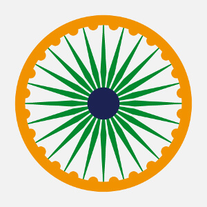 Symbole indien aux couleurs du drapeau de l'Inde, Chakra à personnaliers.
