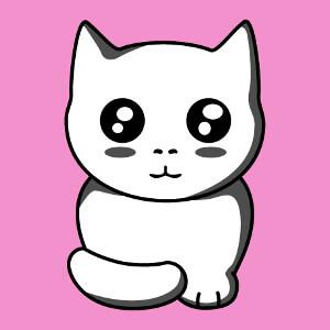 Chaton kawaii 3 couleurs à imprimer en ligne, un design chats et animaux.