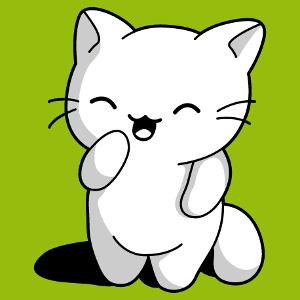 Tee-shirt chaton rigolo à personnaliser. Le chaton est debout sur ses pattes de derrière. Design kawaii 3 couleurs à imprimer sur t-shirt.
