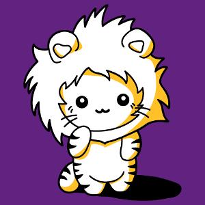 Chat kawaii rigolo déguisé en lion avec une capuche crinière. Design 3 couleurs personnalisable.