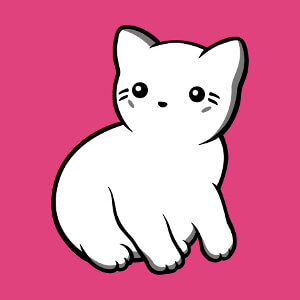 Chat dessiné en style kawaii en aplat et contours, à imprimer sur t-shirt.