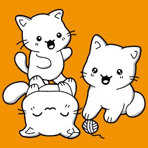 Chats kawaii, trio de chatons à personnaliser. Créer un t-shirt chatons kawaii.
