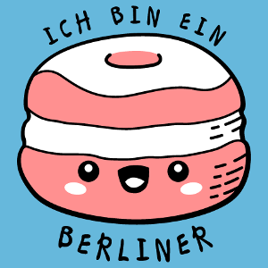Design citations drôles, Ich bin ein Berliner, citation de JFK et beignet kawaii rigolo à personnaliser.