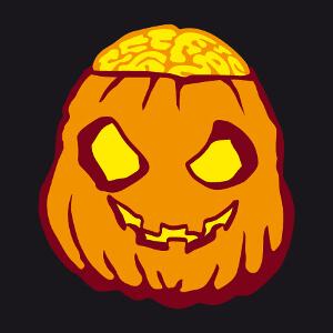 Citrouille zombie au crâne décalotté et à la cervelle en pulpe qui dépasse. Un design pour Halloween.