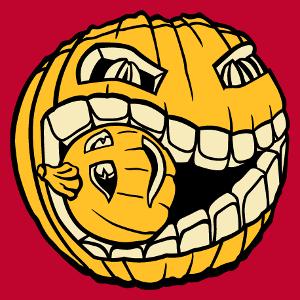 Design Halloween à imprimer sur t-shirt. Citrouille mangeant une petite citrouille. Créer un t-shirt Halloween
