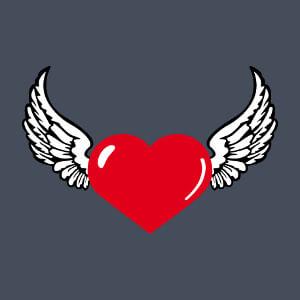 Coeur en pointe et ailes larges, un design amour à personnaliser.