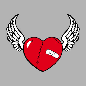 Cœur ailé et cousu de cicatrice, personnification de l'amour.