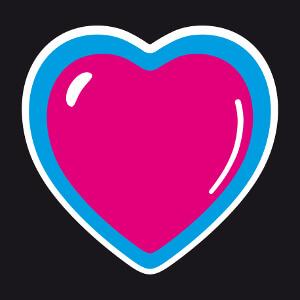 Coeur anime à bandes et effet relief personnalisable.