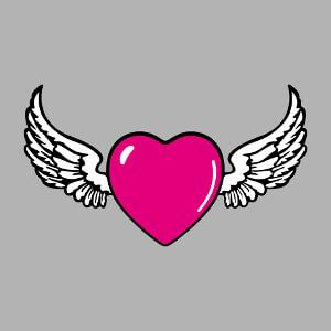 Tee-shirt Coeur pop et graphique et ailes d'ange personnalisé.