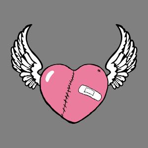 T-shirt Cœur blessé doté d'ailes déployées customisé.
