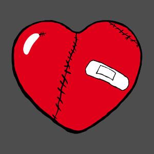 Motif cœur et amour avec un gros cœur arrondi cousu de cicatrices.