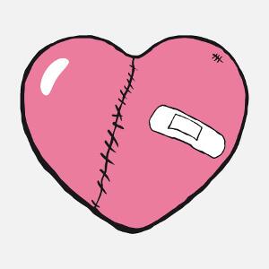 Coeur blessé marqué de cicatrice et portant un pansement, un design amour et couple personnalisable.