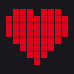 Cadeau Coeur dessiné en pixels séparés par un espace fin à imprimer.