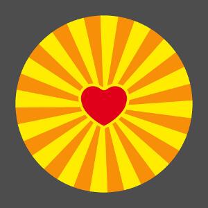 Accessoire Coeur graphique et anime entouré de rayons colorés à couleurs alternées customisé en ligne.