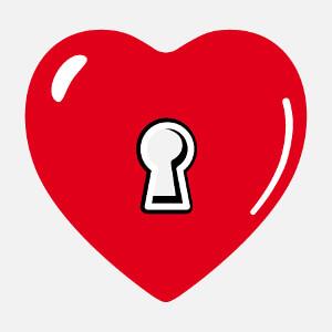 T-shirt Coeur décoratif à serrure à créer soi-même.
