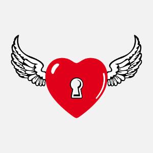 T-shirt Coeur à serrure et ailes d'ange customisé.