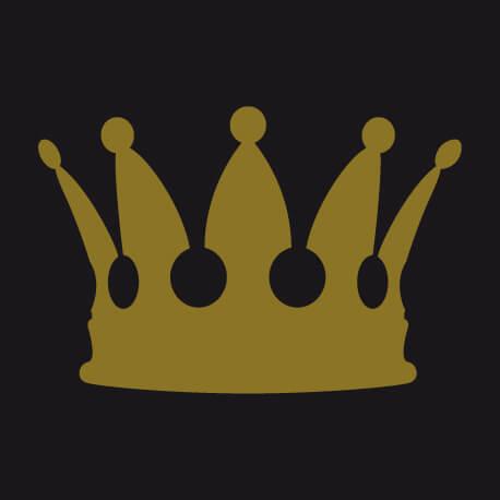 Picto vectoriel de couronne royale, un design swag à imprimer en couleurs dorées.