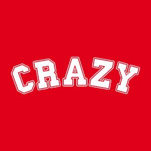 Design Crazy écrit comme un nom d'université américaine en typo style college, une couleur.