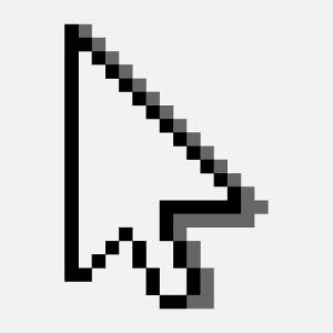 Flèche en pixels à ombre portée, un design developpeur et programmation.