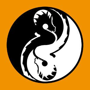 Dragons stylisés formant un cercle aux deux moitiés symétriques avec chacune un point formé par la tête et le cou, comme un symbole yin yang.