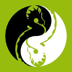 Dragons stylisés imbriqués suivant une courbe en forme de S et formant le symbole chinois yin yang.