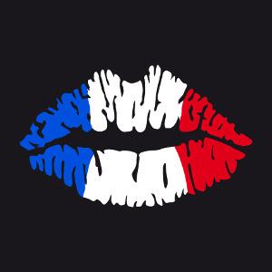Lèvres bleu blanc rouge, design Équipe de France et supporter de foot ou autre sport en forme de bouche stylisée.