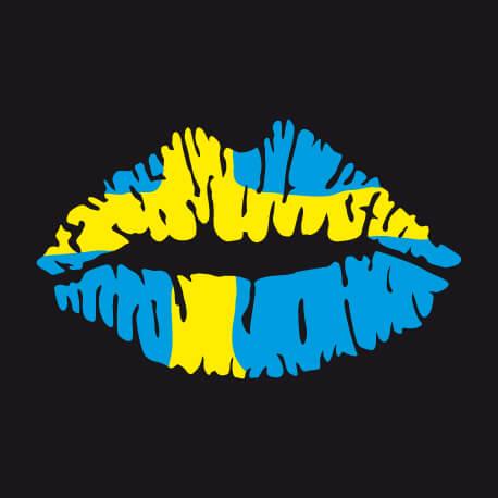 Tee shirt Lèvres suédoises et design du drapeaus à créer soi-même.