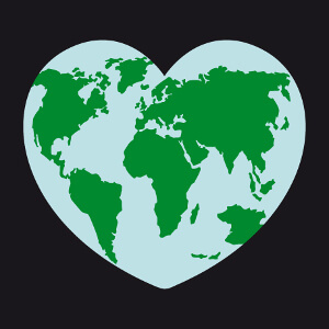 Design Nature et écologie, I love earth . Heart, J'aime la Terre.