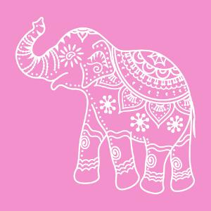 Elephant d'inde décoré en style classique, design en aplats et découpes.