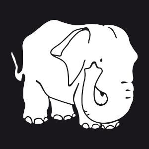 Cadeau Dessin d'éléphant aux traits grossis en caricature à créer soi-même.