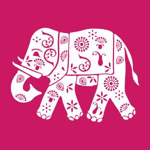 Elephant indien fleuri et décoré de motifs classiques, design une couleur à personnaliser.