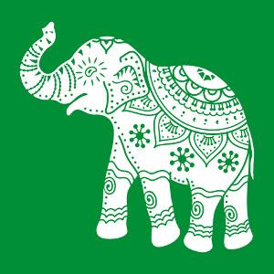 Elephant décoré en style indien, design une couleur personnalisable.
