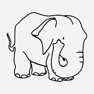 Dessin d'éléphant aux tracés fins et à la silhouette carrée, un design animaux sauvages.