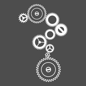 Engrenage stylisé à roues crantées vectorielles spéciales impression de t-shirt. Un design mécanique et geek.