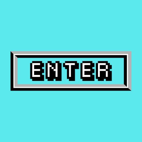 Bouton de jeu vidéo enter reproduit en pixels, un design retrogaming, gaming et pixel art.