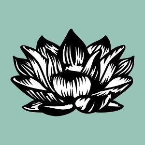 Fleur de lotus noire et blanche opaque aux tracés contrastés. Un design floral et décoratif spécial impression t-shirt. Convient également pour mugs c